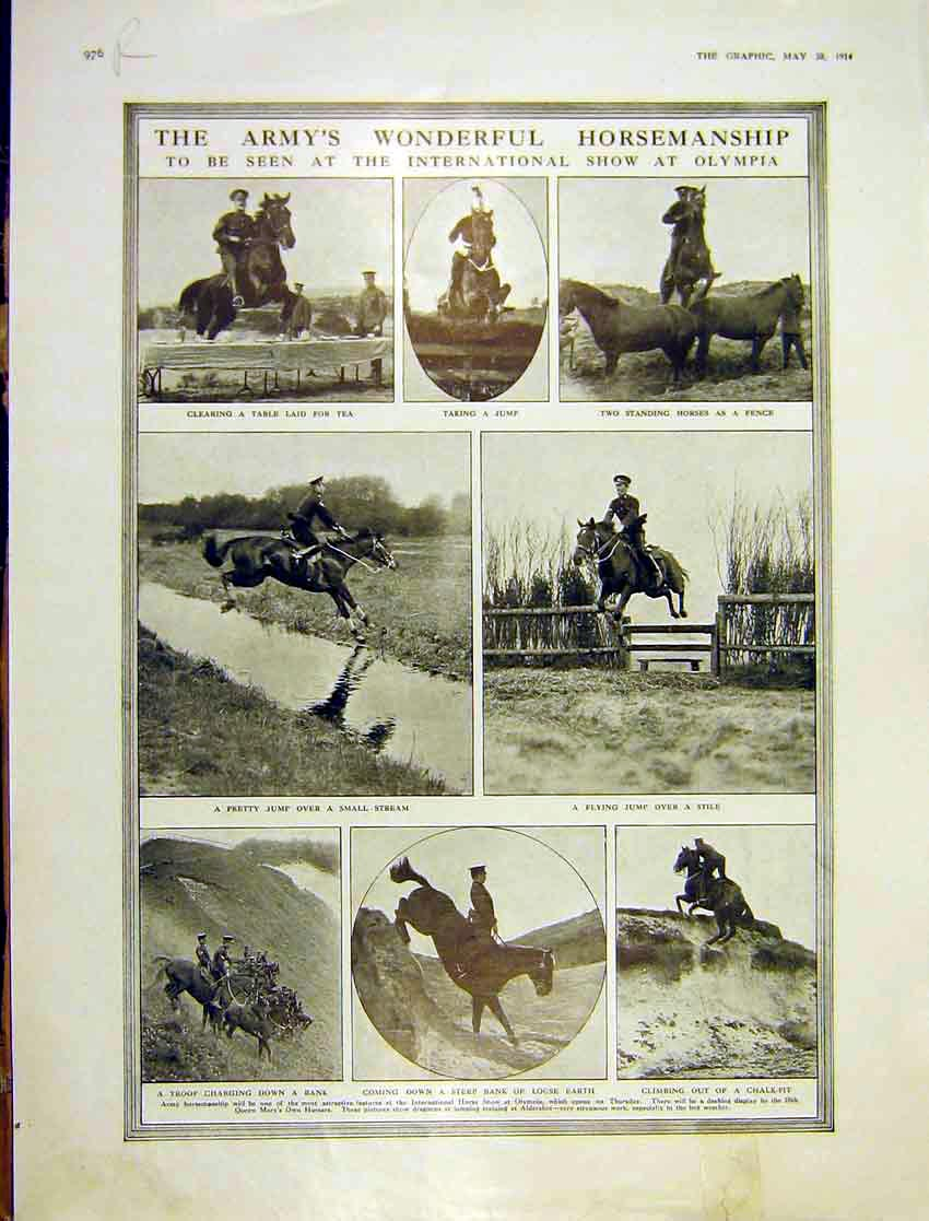 Print Army Cavalry Show Horse Olympia Queen Mother 1914 976Rddd0 Old Original