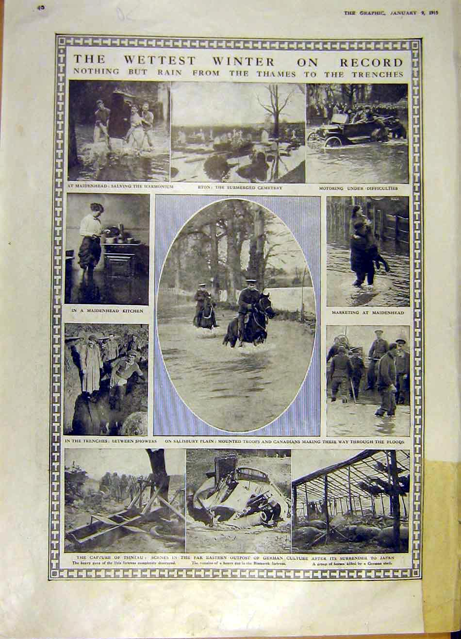 [Print Trench Ww1 War Flood Rain Cuxhaven Zeppelin 1915 40Rddd0 Old Original]