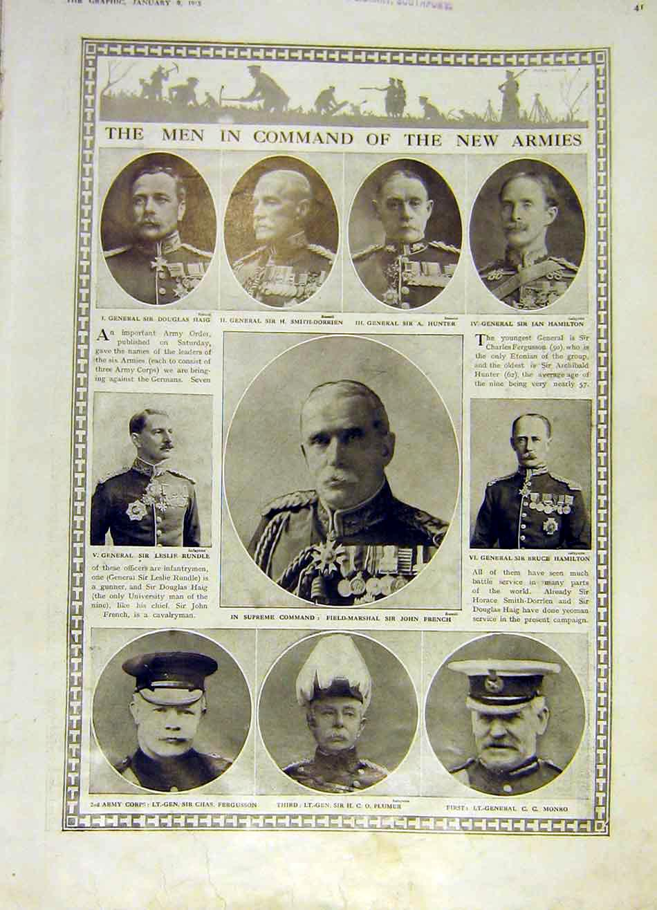 [Print Army Military Portrait Commanders Ww1 War 1915 41Ddd0 Old Original]