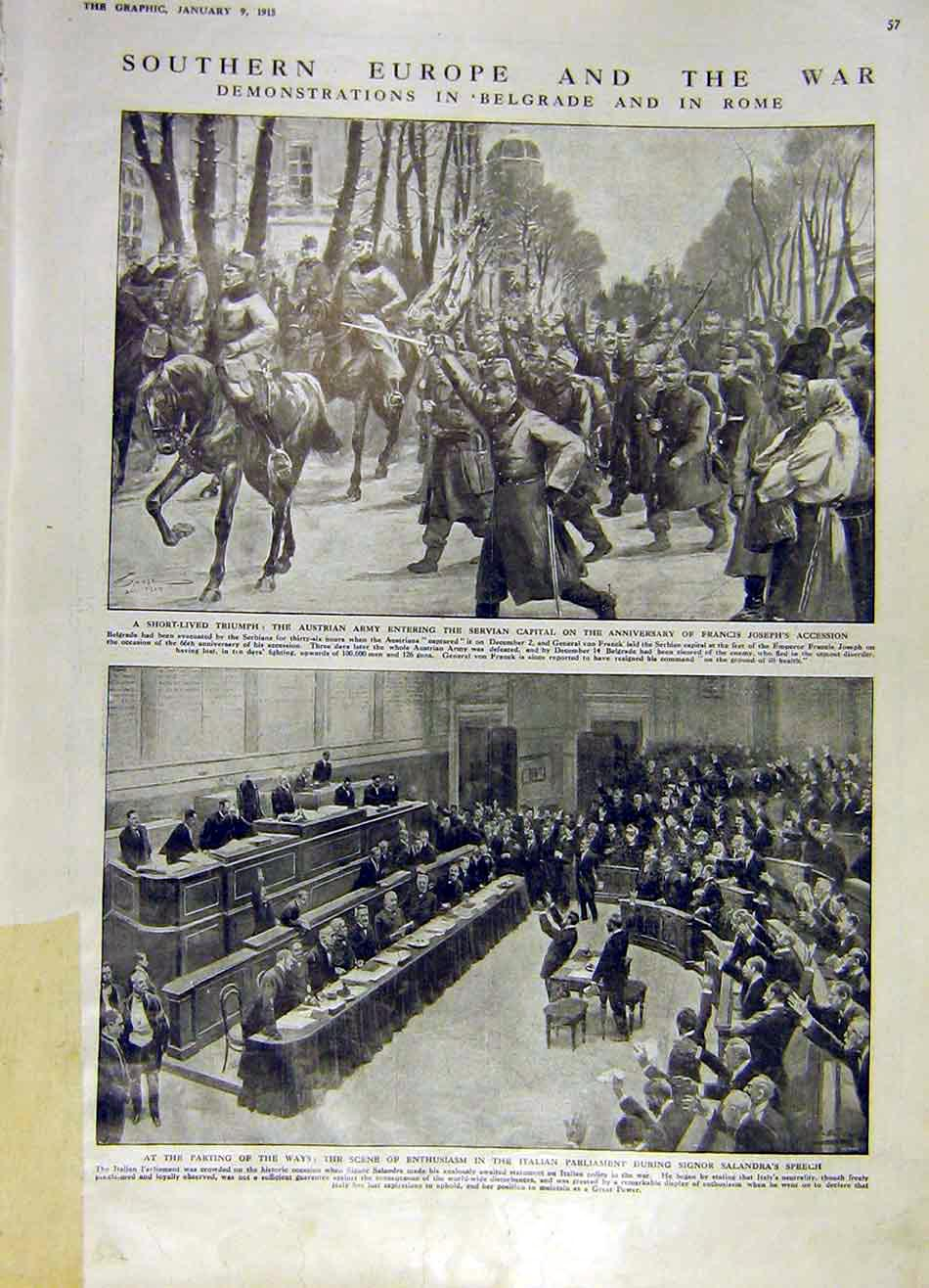 Print Belgrade Rome War Ww1 Europe Servia Italy 1915 57Ddd0 Old Original