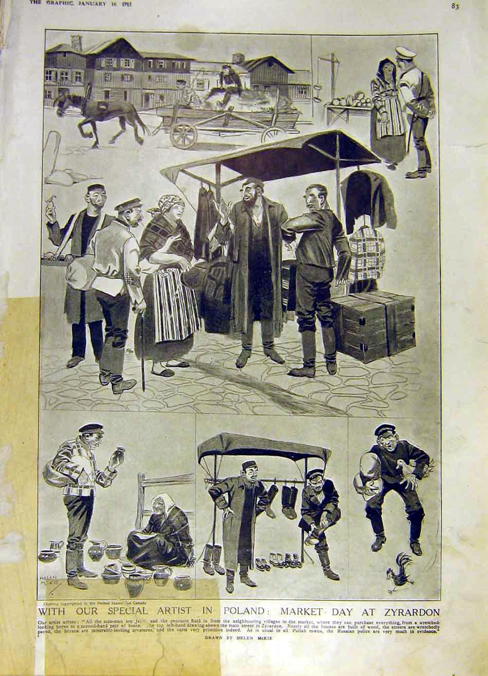 Print Poland Market Day Zyrardon Sketches Ww1 War 1915 83Ddd0 Old Original
