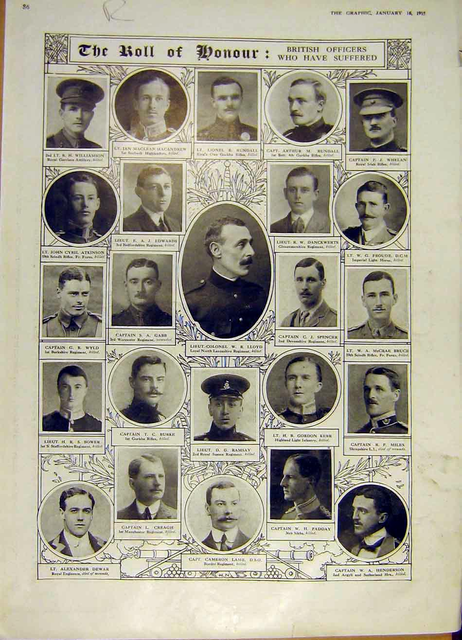 Print War Ww1 Roll Honour Officers Petrograd Poland 1915 86Rddd0 Old Original