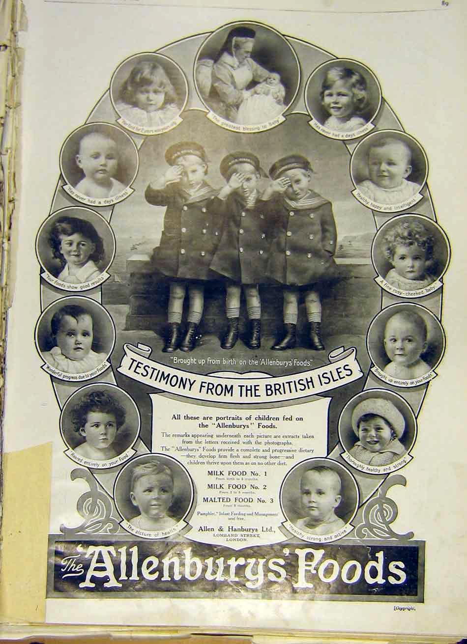 Print Allenbury'S Foods Children Advert Hms Child Sailor 1915 89Ddd0 Old Original
