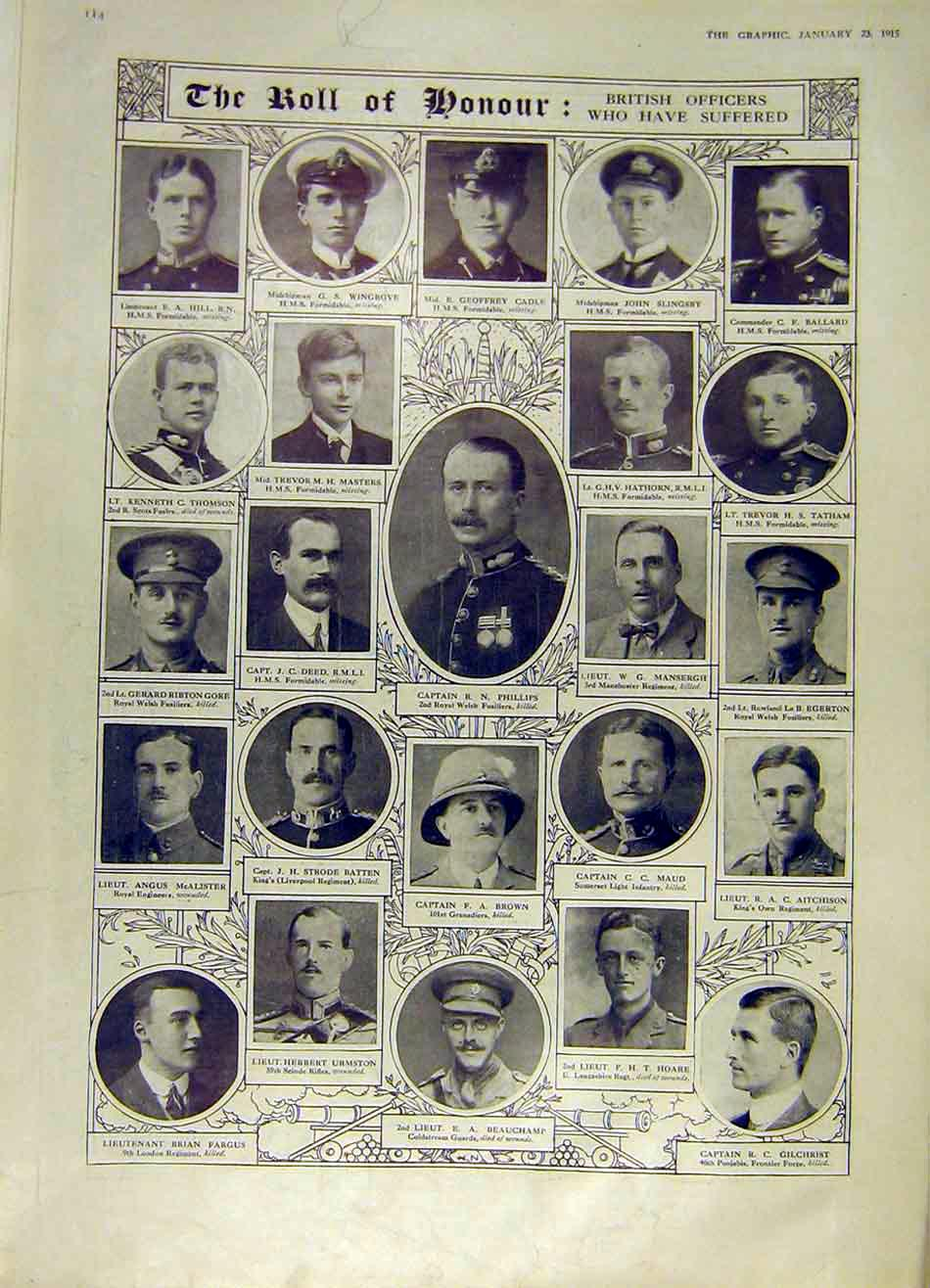 Print Officers Roll Honour Ww1 Acland Hambleden Awdry 1915 14Rddd0 Old Original