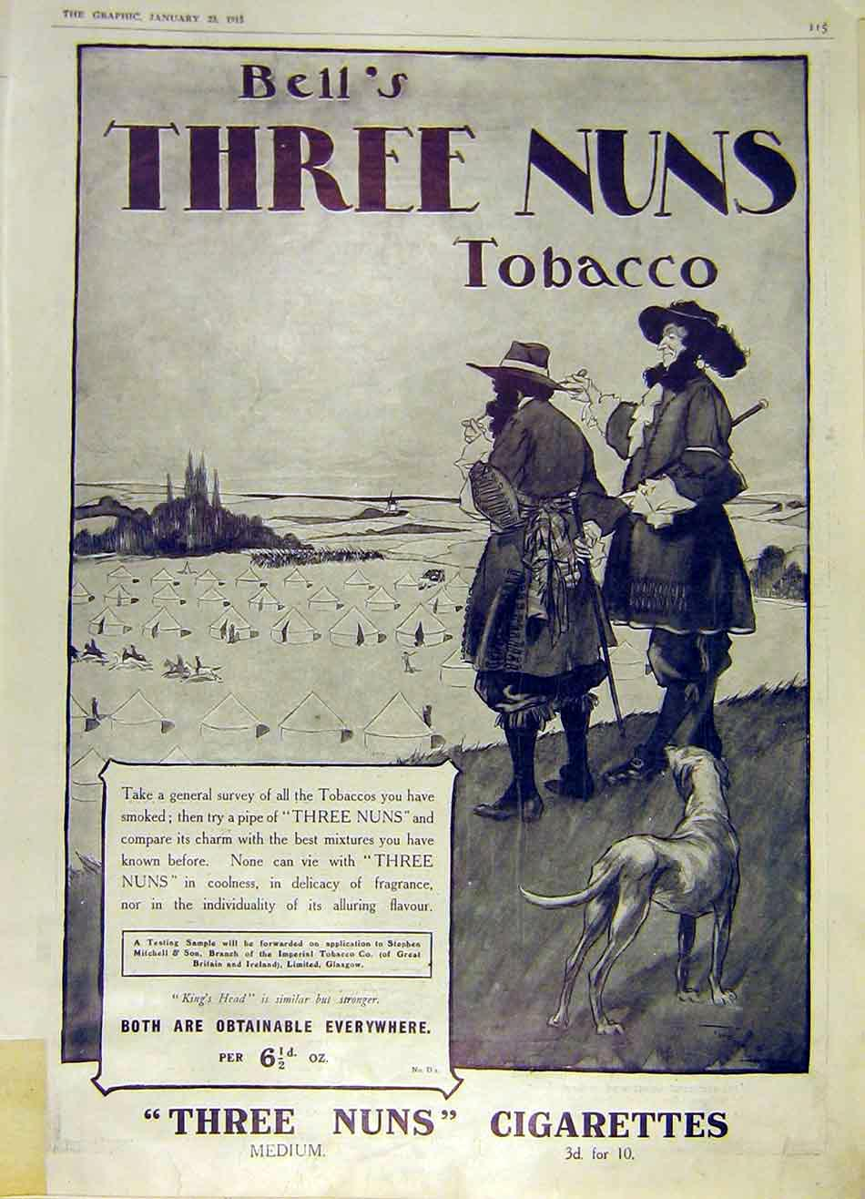 Print Bell'S Three-Nuns Tobacco Advert Cigarettes 1915 15Ddd0 Old Original