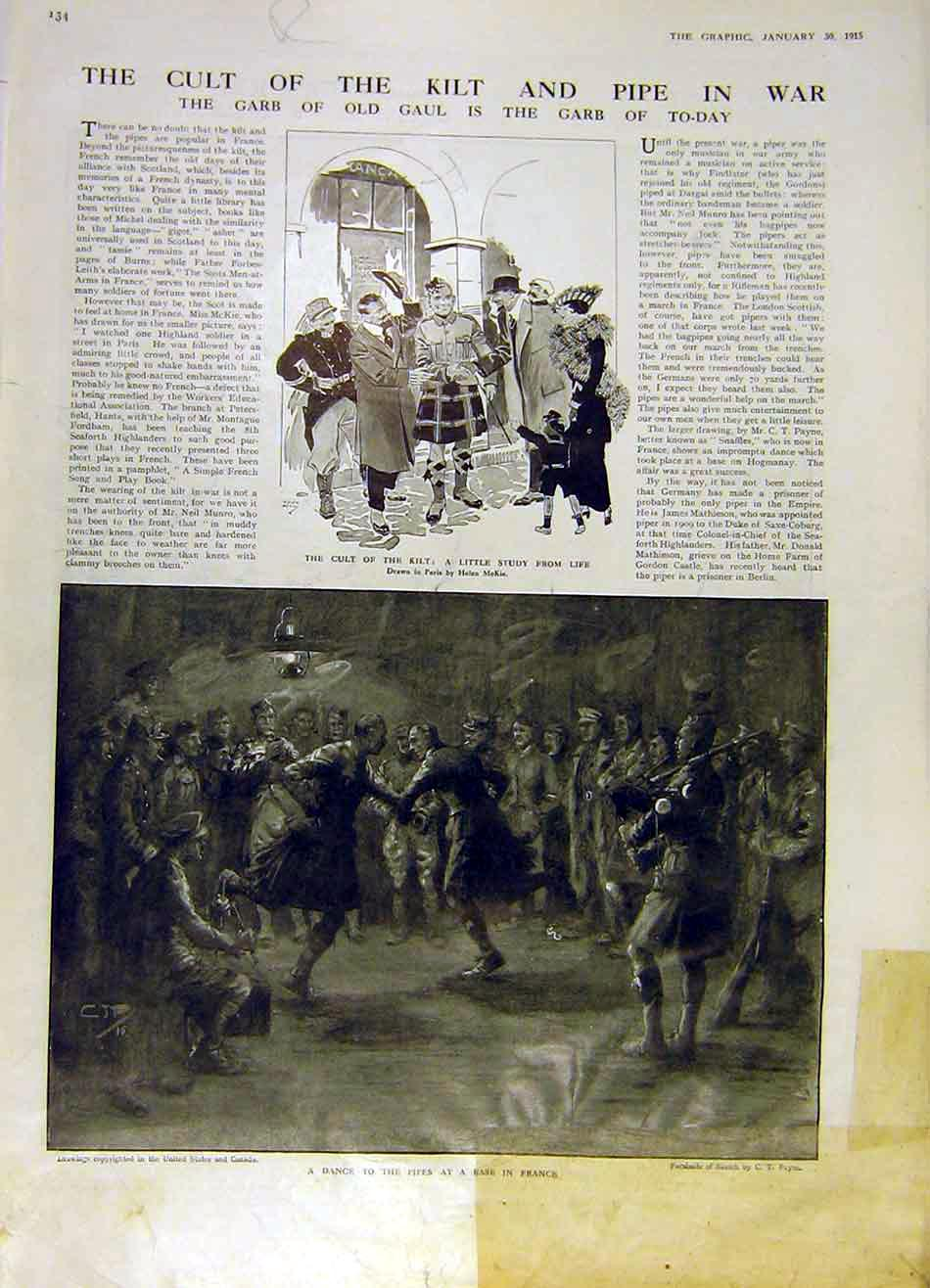 Print Kilt Pipe War Ww1 Scots Zellebeke German Looter 1915 34Rddd0 Old Original
