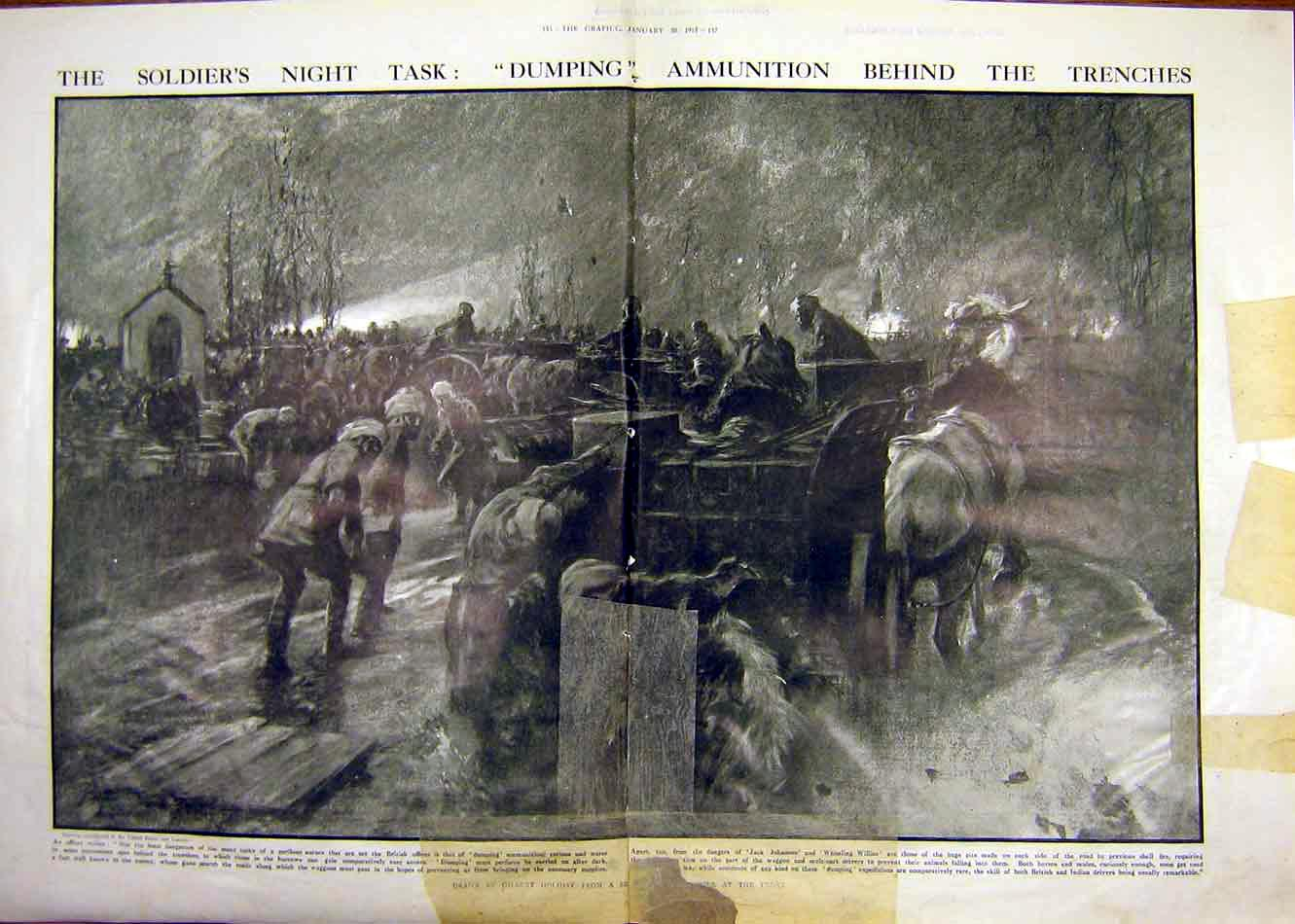 Print Soldiers Ammunition Trenches Military War Ww1 1915 35Tddd0 Old Original