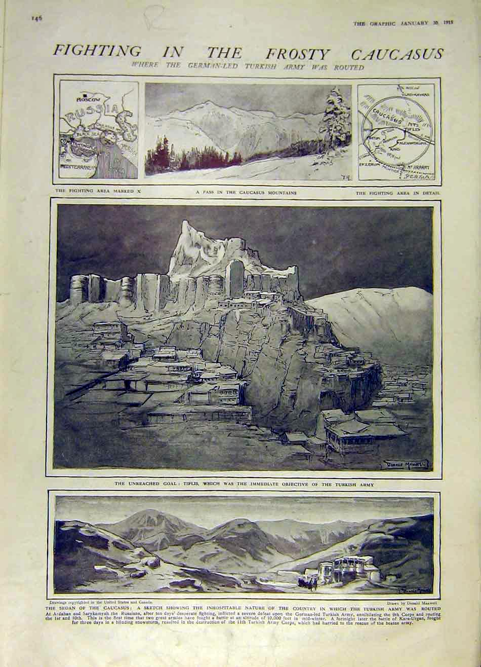 Print Causcasus Mountains Cameroons Sketches Ww1 1915 46Rddd0 Old Original