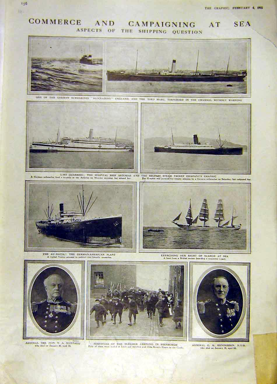 Print Commerce Ww1 War Sea Blucher Admiral Ships 1915 56Ddd0 Old Original