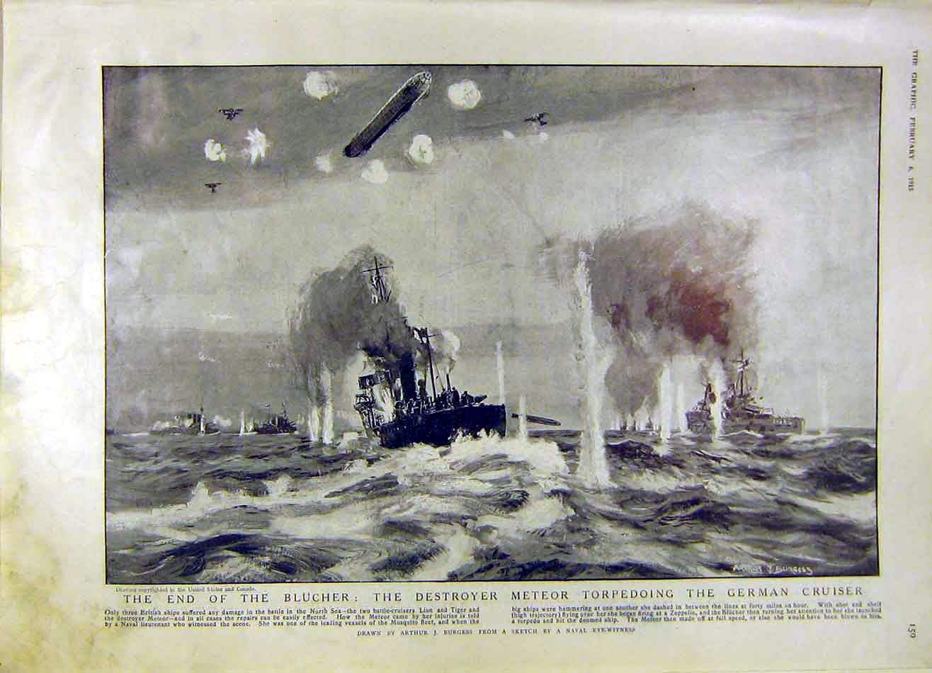 Print Blucher Destroyer Torpedo German Cruiser Ww1 War 1915 59Ddd0 Old Original