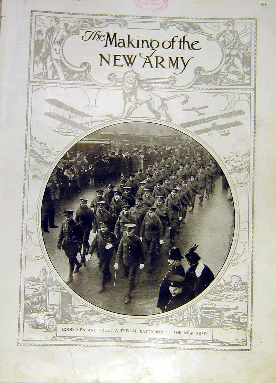 Print Battalion New-Army Troops Ww1 War Soldiers 1915 61Ddd0 Old Original