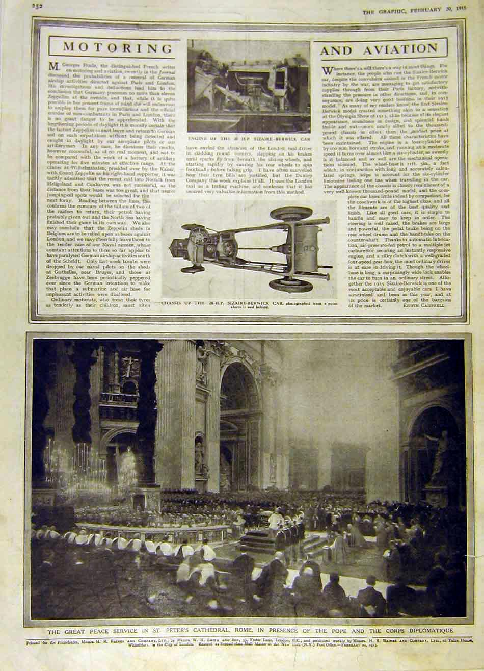 Print Sizaire-Berwick Car Chassis Engine Peace Cathedral 1915 52Ddd0 Old Original