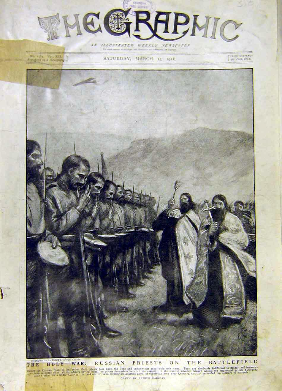 Print Holy-War Russian Priests Battlefield Troops Galicia Ww1 18Ddd0 Old Original