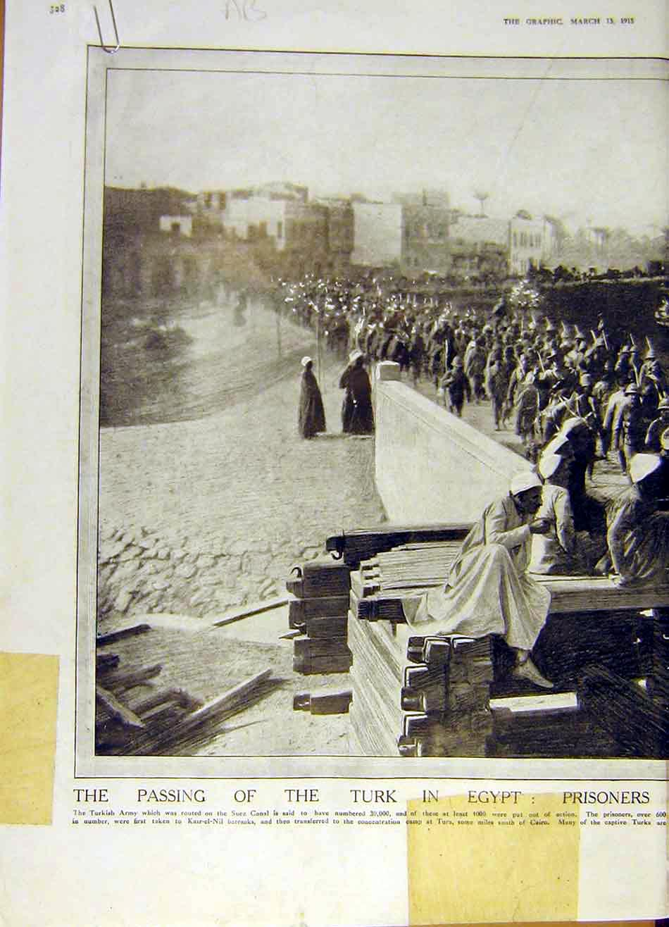 Print Turk Egypt Prisoners Cairo Concentration Camp Ww1 1915 28Addd0 Old Original