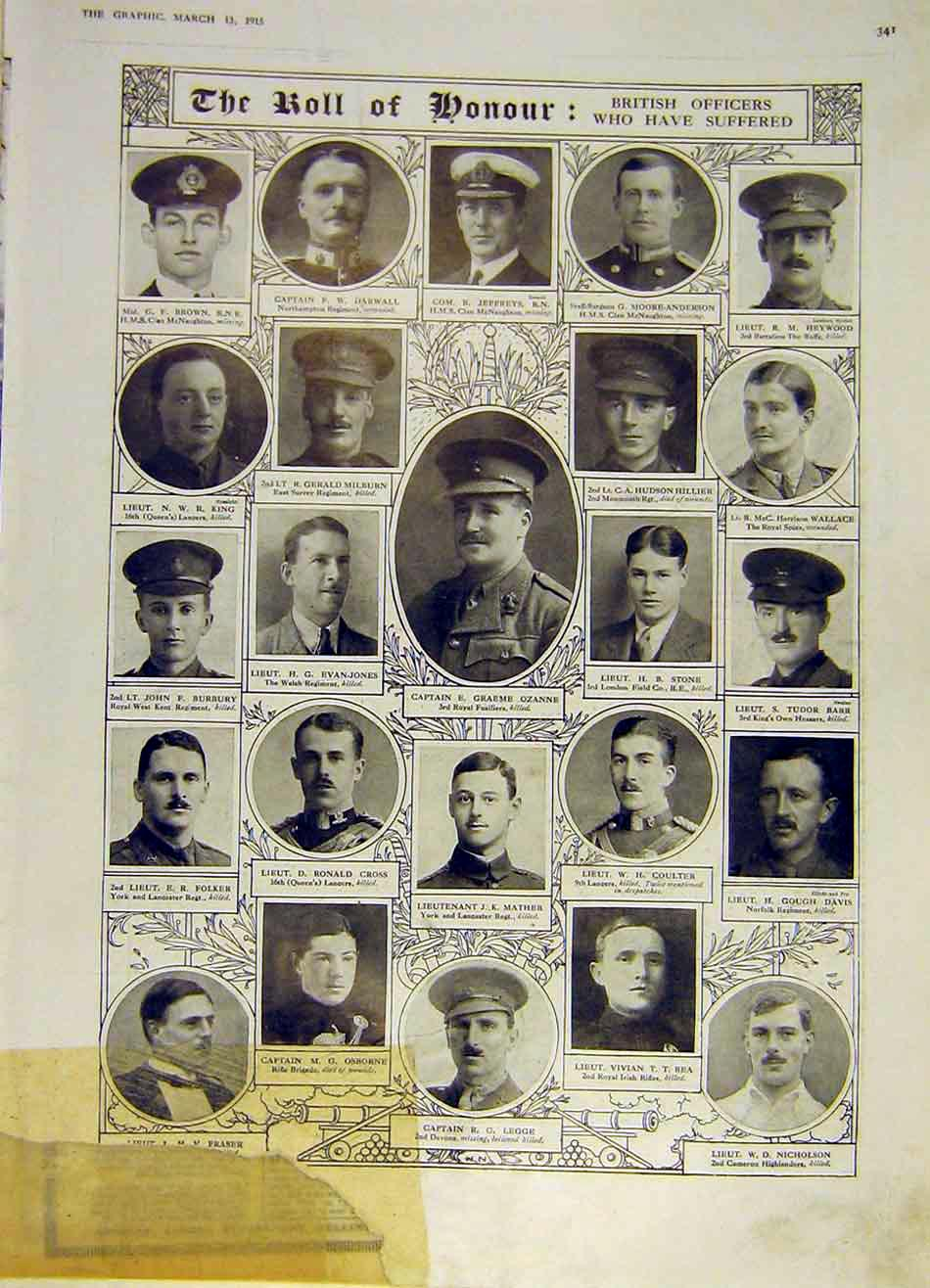 Print Honour Roll British Officers Ww1 War 1915 41Ddd0 Old Original