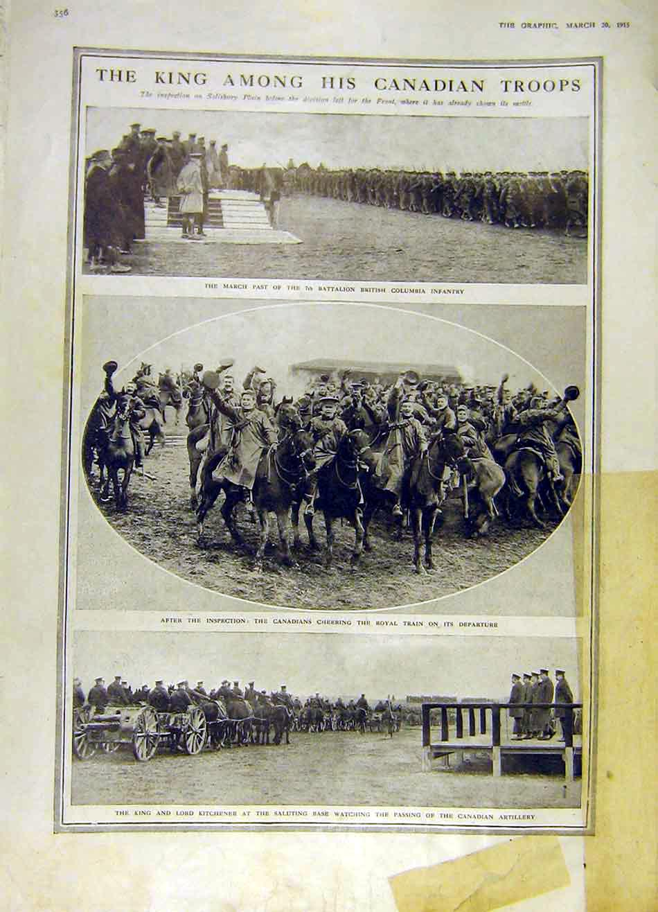 Print Canadaian Troops King Infantry Kitchener Artillery 1915 56Ddd0 Old Original