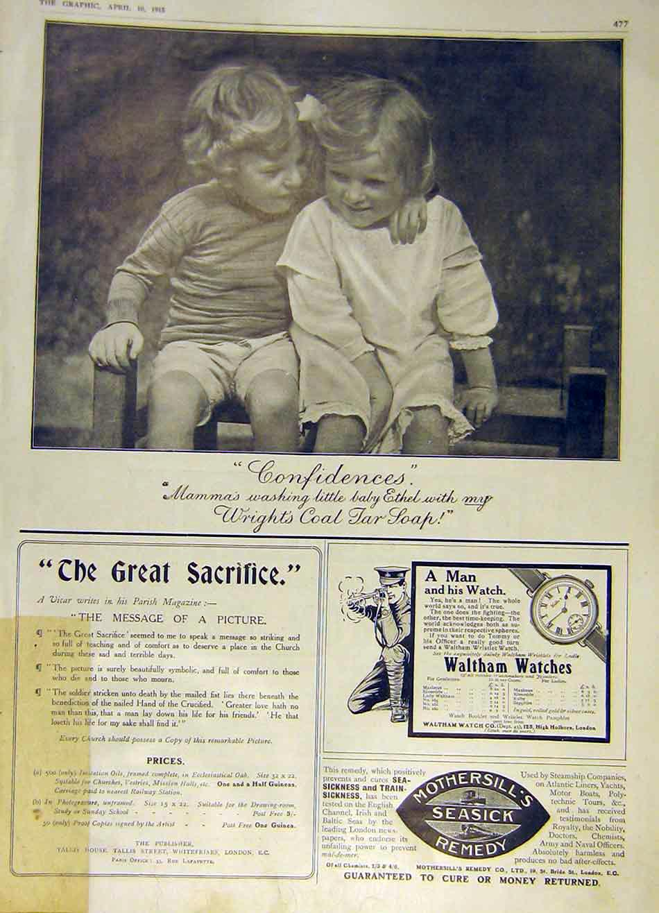 Print Confidences Children Wright'S Coal Tar Soap 1915 Advert 77Ddd0 Old Original