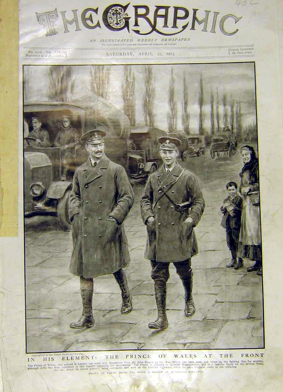 Print Prince Wales War Ww1 Front Trenches Flemish 1915 82Ddd0 Old Original