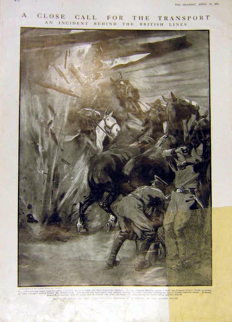 Print Bomb Transport Horses Stables War Ww1 1915 84Ddd0 Old Original