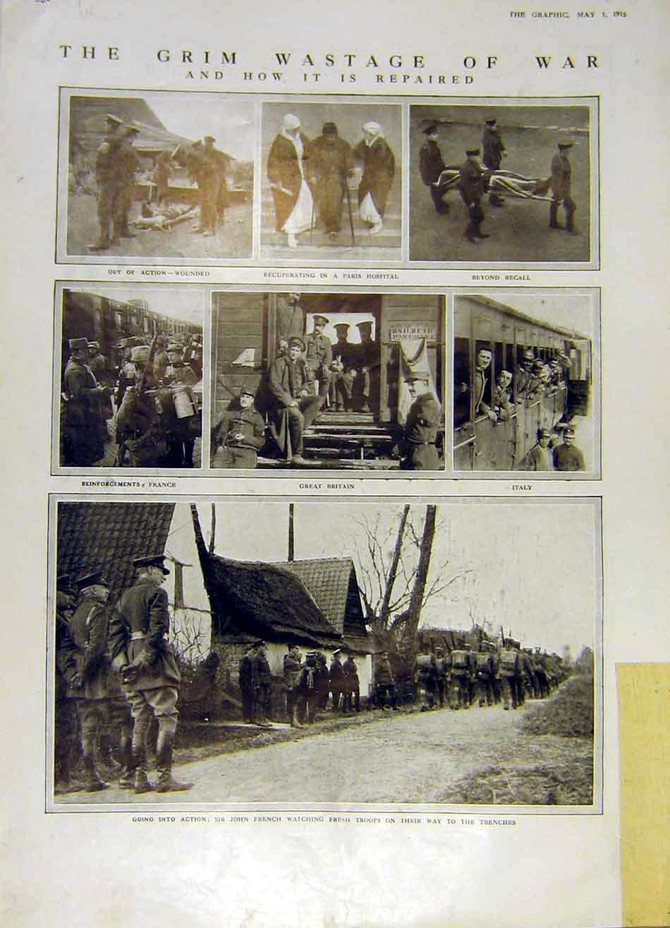 Print Troops Trenches Flanders Aerial Cloth-Hall Ypres 1915 52Rddd0 Old Original