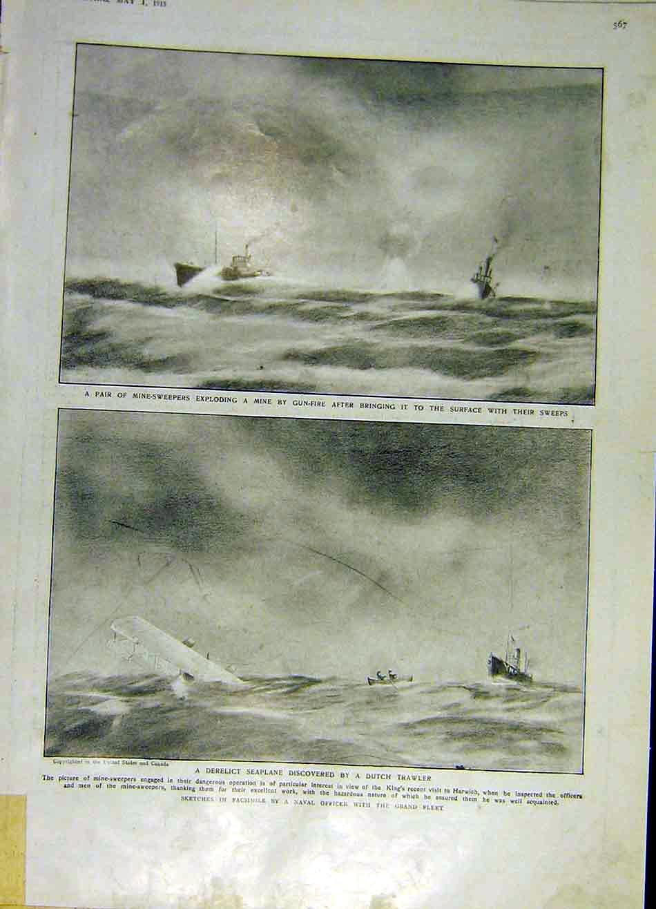 Print Mine-Sweepers Seaplane Dutch Trawler Ww1 War 1915 67Ddd0 Old Original