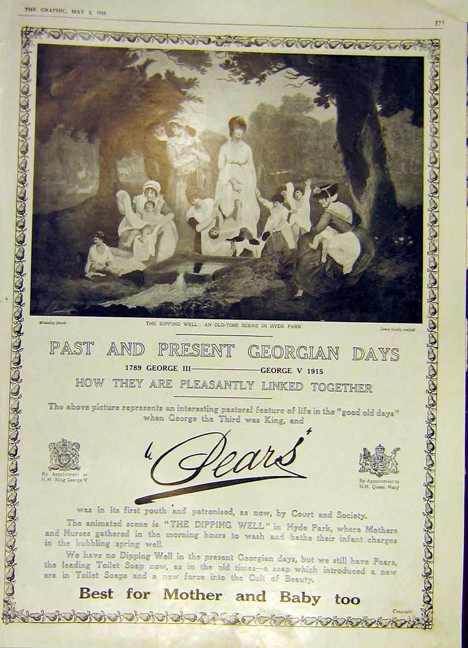 Print Pears Georgian Days Dipping-Well Advert 1915 71Ddd0 Old Original