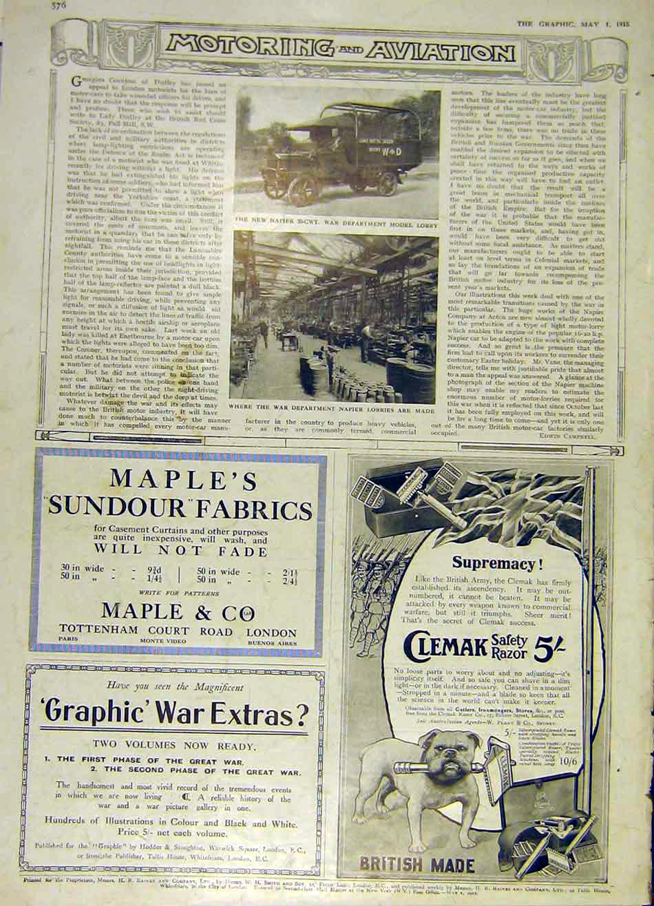 Print Naper War Department Lorry Ww1 Clemak Maple 1915 76Ddd0 Old Original
