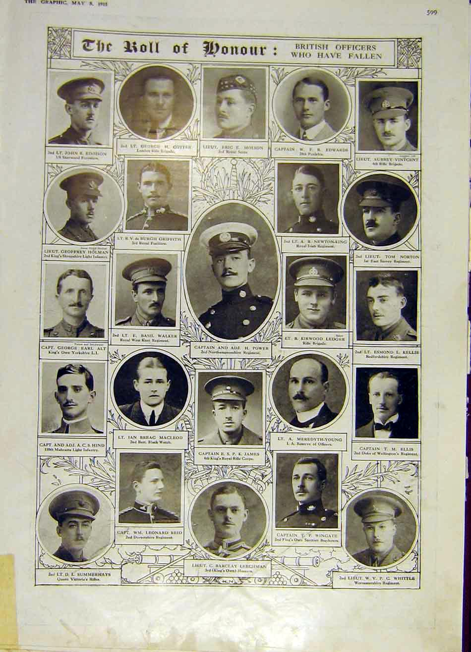 Print Ww1 War British Officers 1915 Roll Honour 99Ddd0 Old Original