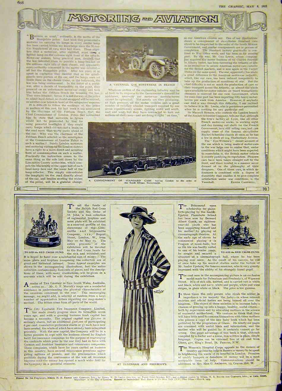 Print Vauxhall Standard Car Debenham Freebody Red-Cross 1915 08Ddd0 Old Original