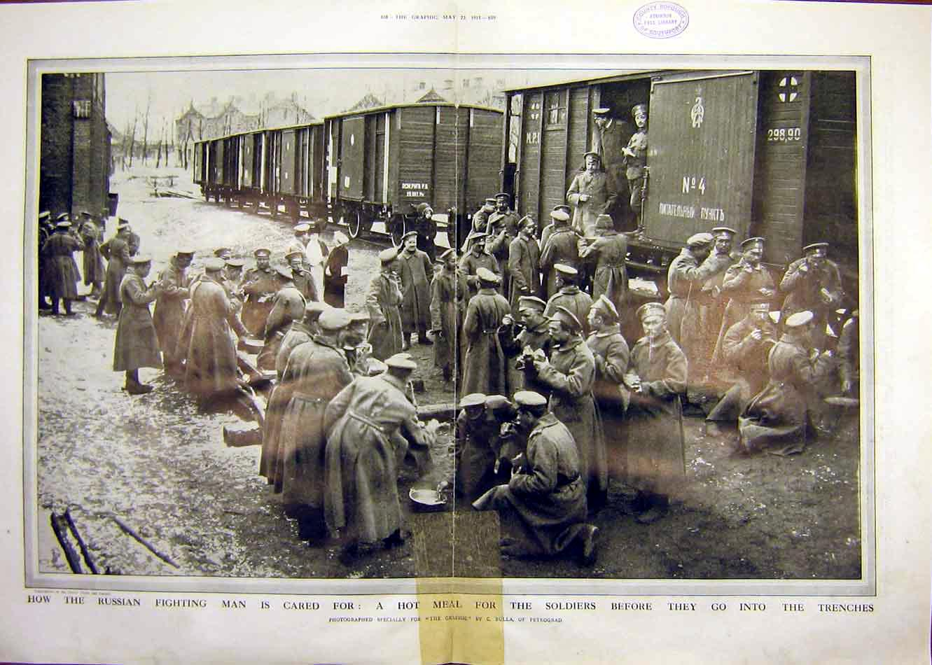 Print Russian Soldiers Trenches Railway Train Troops Ww1 1915 57Tddd0 Old Original