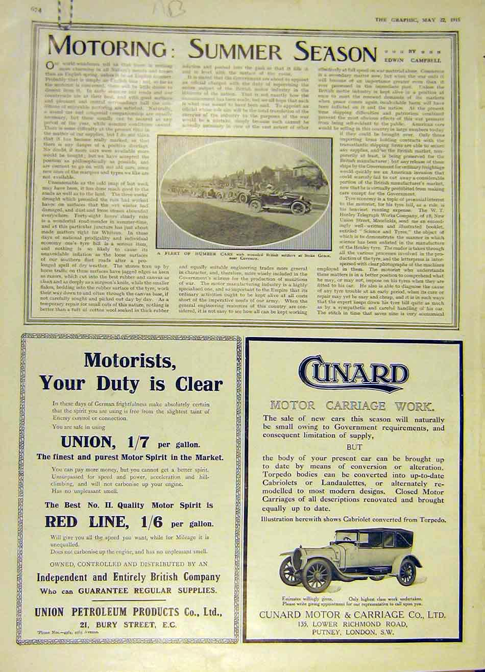 Print Humber Cars Coventry Napier Wolseley Daimler 1915 74Addd0 Old Original
