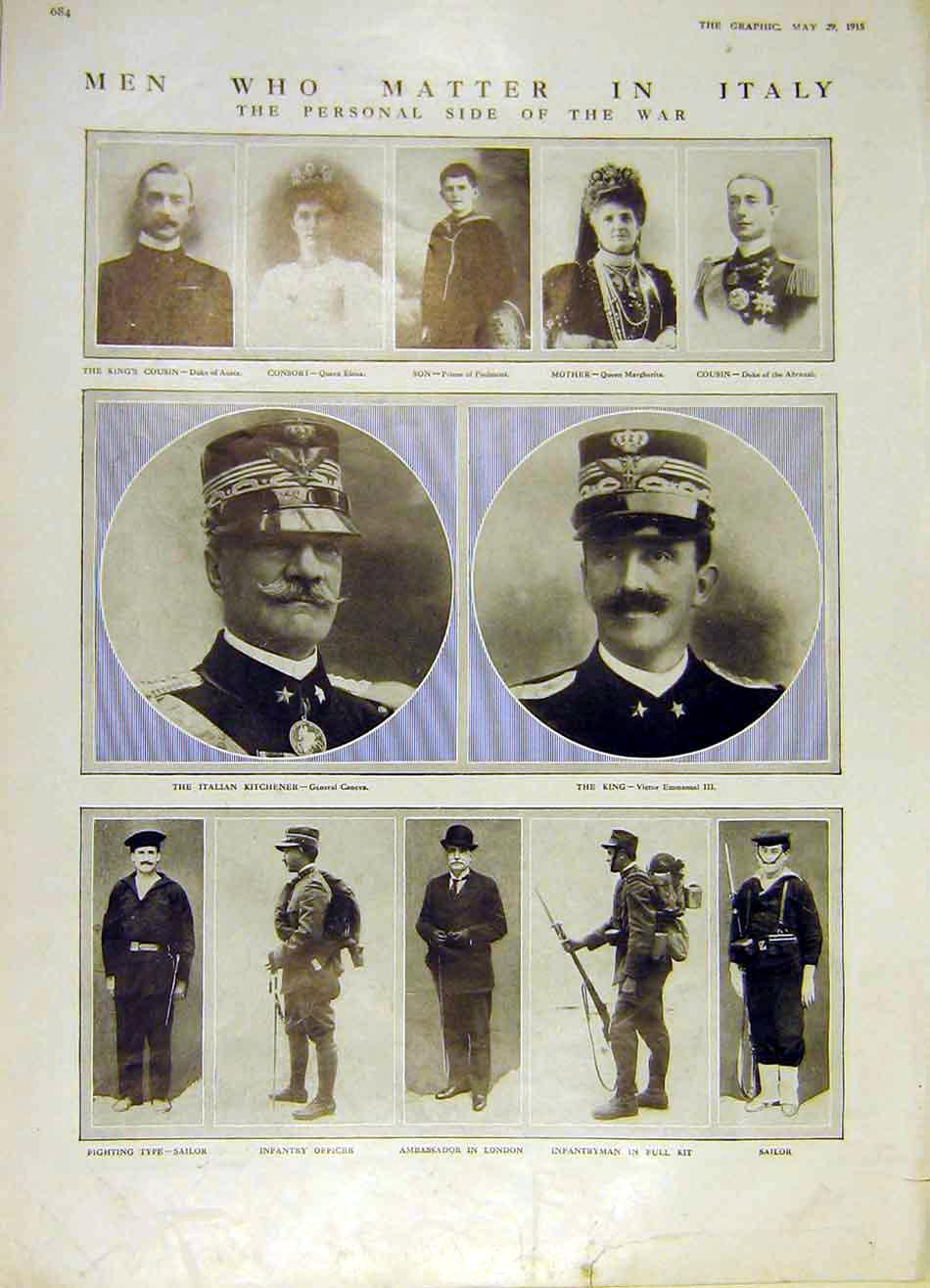 Print Italian King Italy Caneva Officer Sailor Ww1 1915 84Ddd0 Old Original