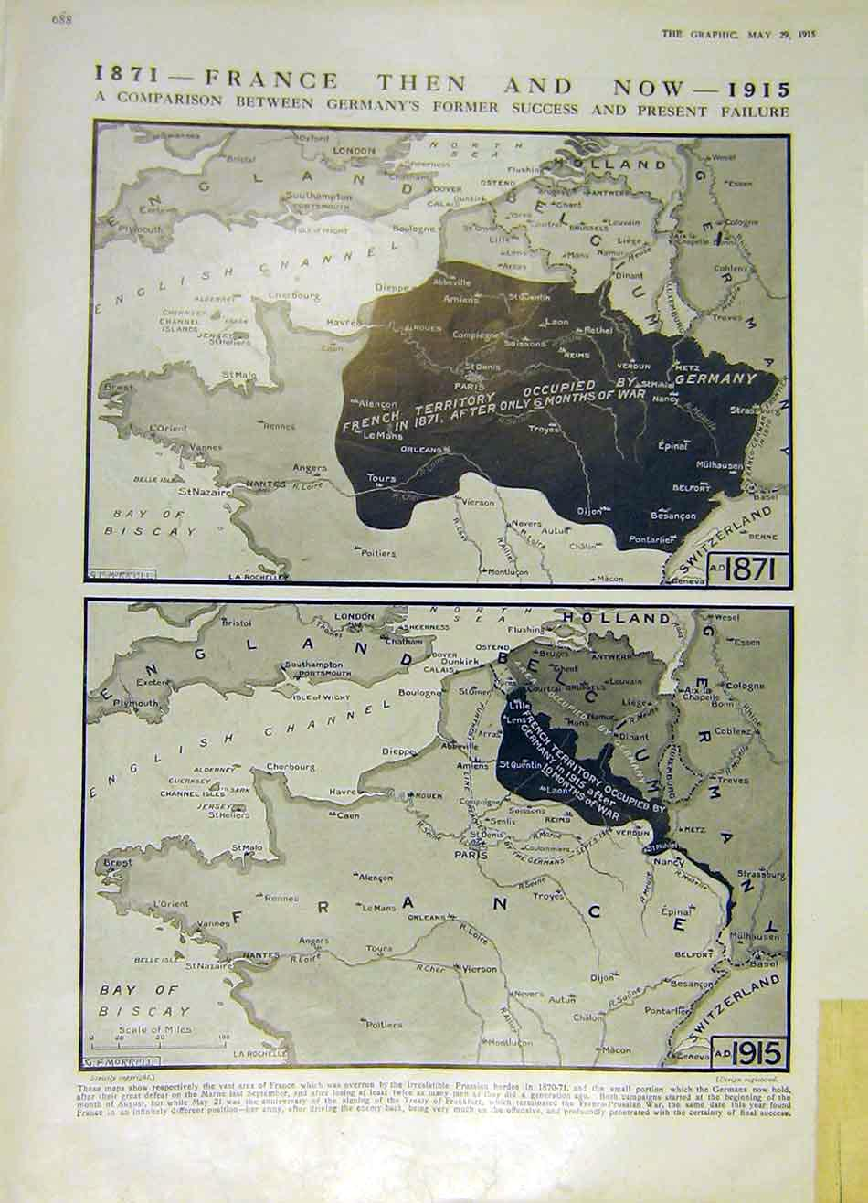 Print Map 1871 France 1915 German Occupation War 88Ddd0 Old Original