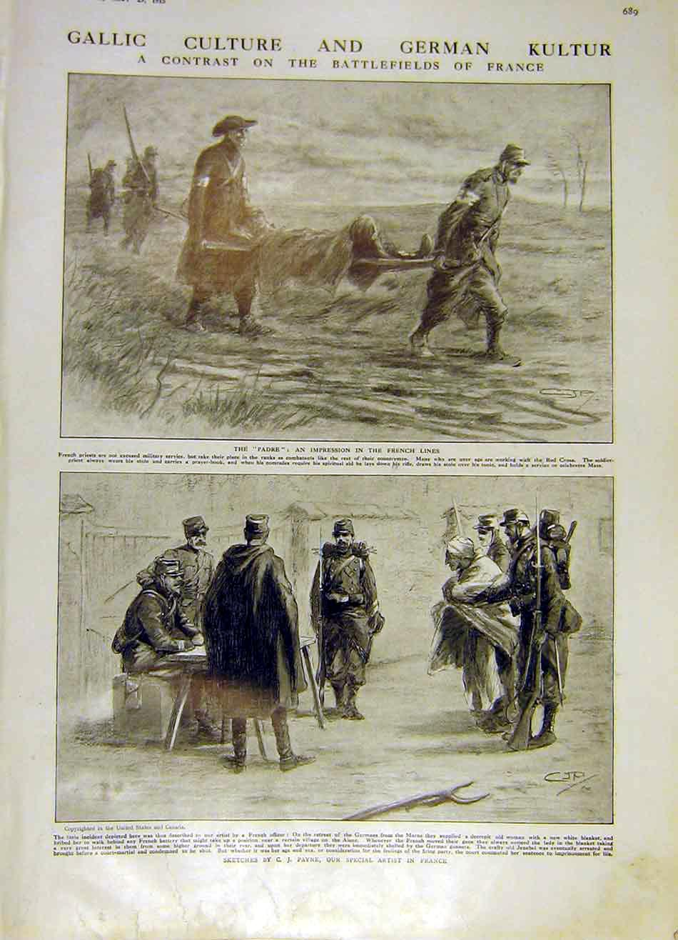 Print Battlefield France German British Wounded Soldiers 1915 89Ddd0 Old Original