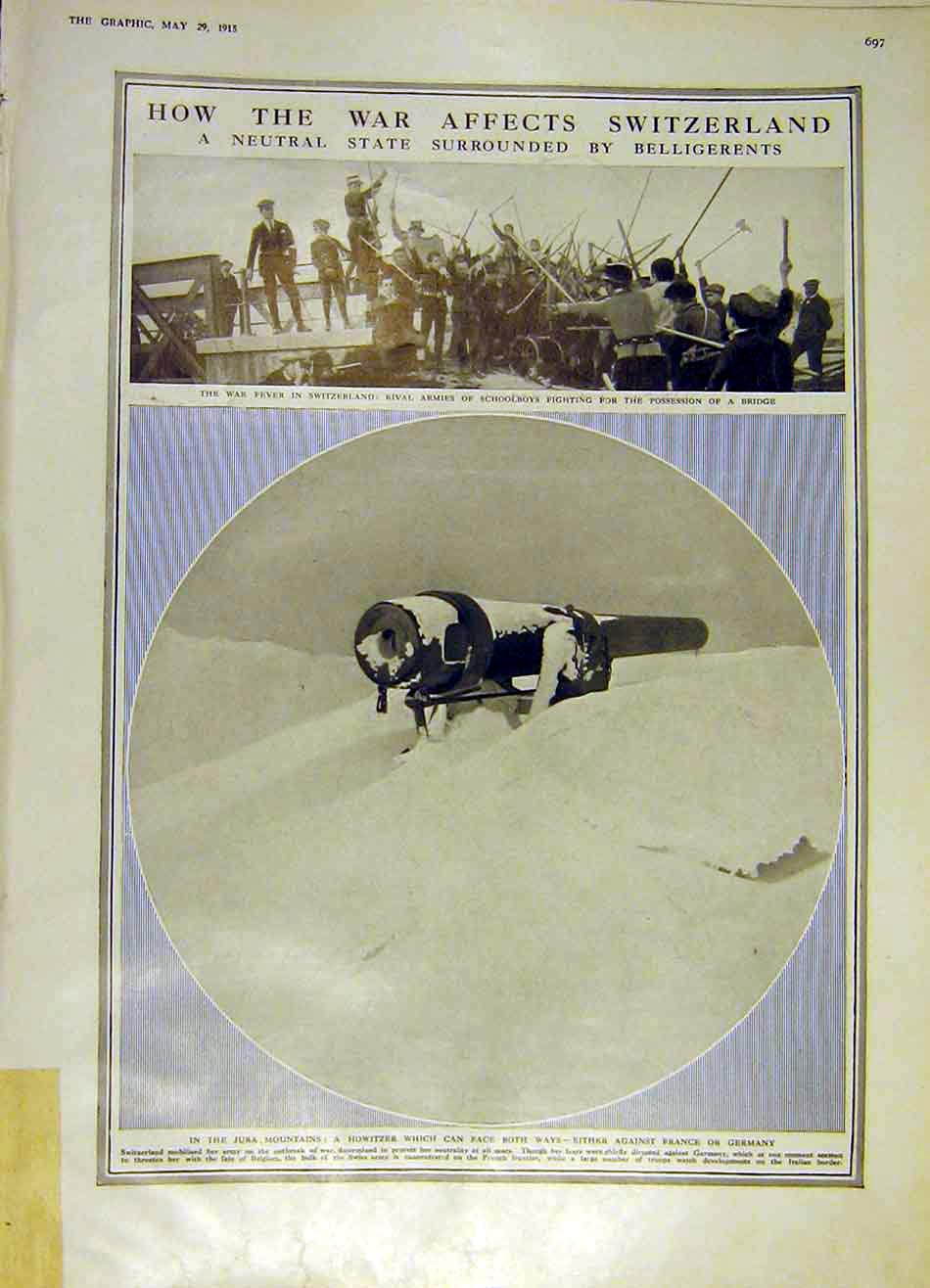 Print Switzerland War Schoolboys Jura Mountains Howitzer 1915 97Ddd0 Old Original