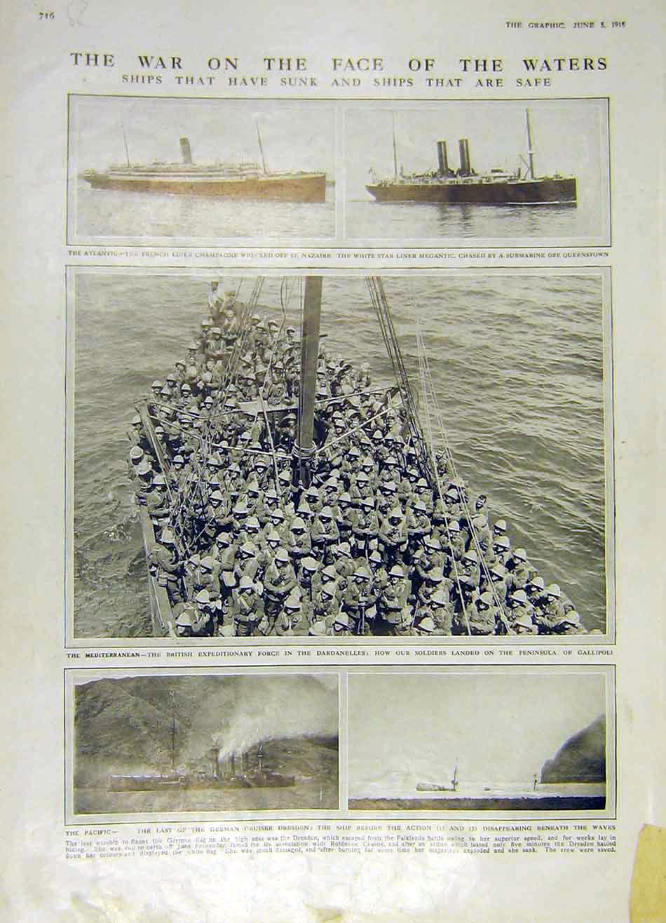 Print War Ww1 Navy Ships German Trenches Belgium Berlin 1915 16Rddd0 Old Original