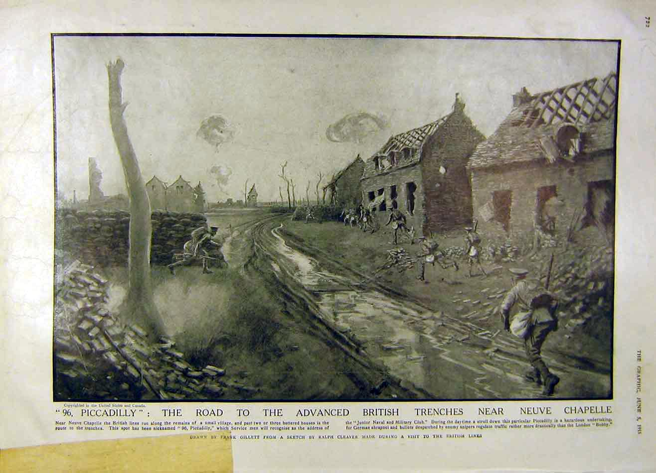Print British Trenches Neuve Chapelle Italian War-Time 1915 22Rddd0 Old Original