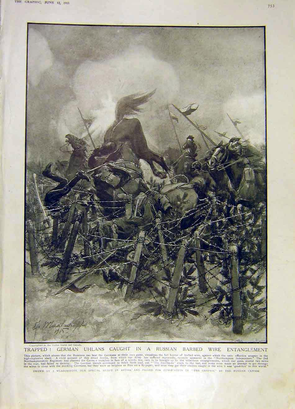 Print German Uhlans Russian Barbed-Wire Battle War Ww1 1915 53Ddd0 Old Original