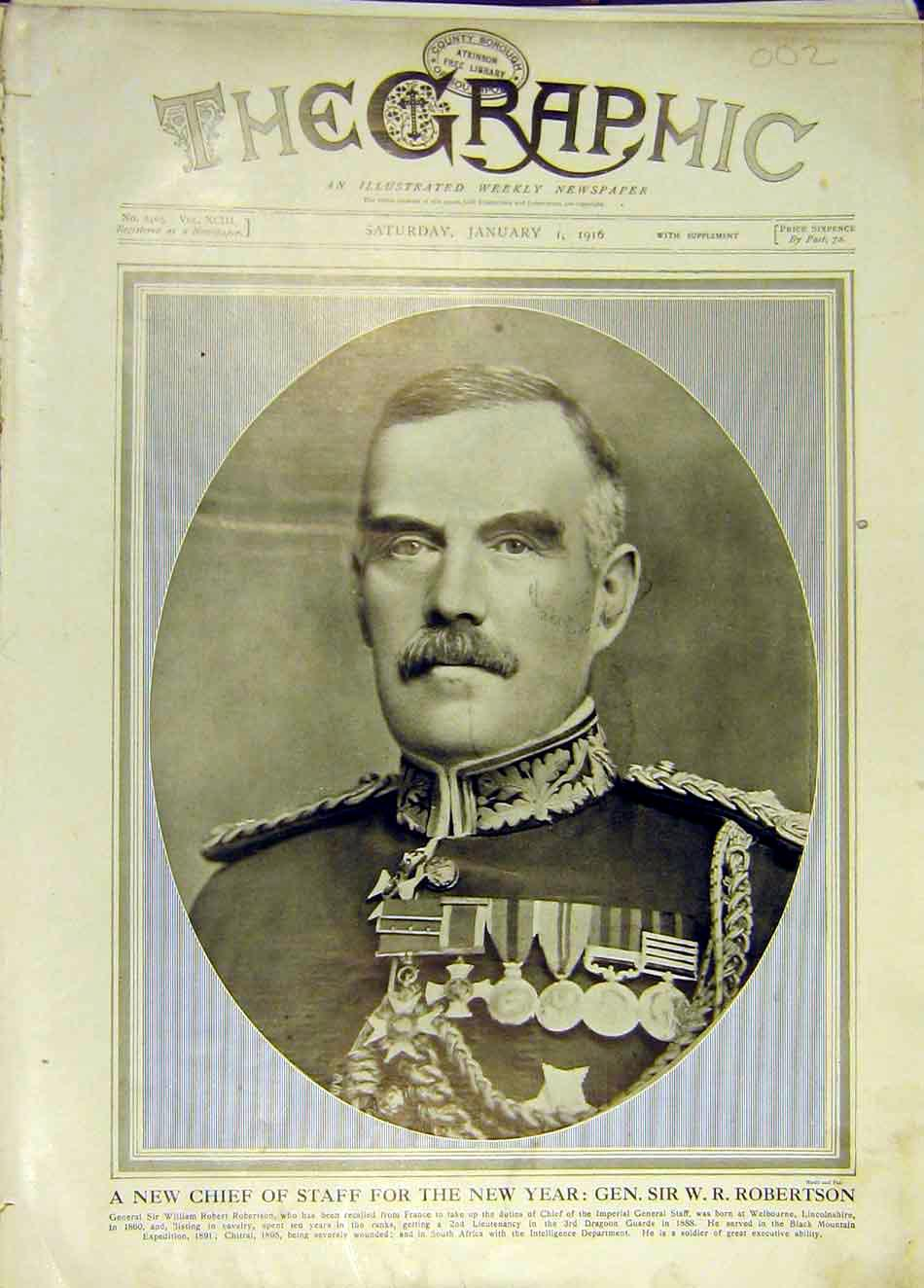 Print Portrait Robertson Chief Staff Military Ww1 1916 02Ddd0 Old Original