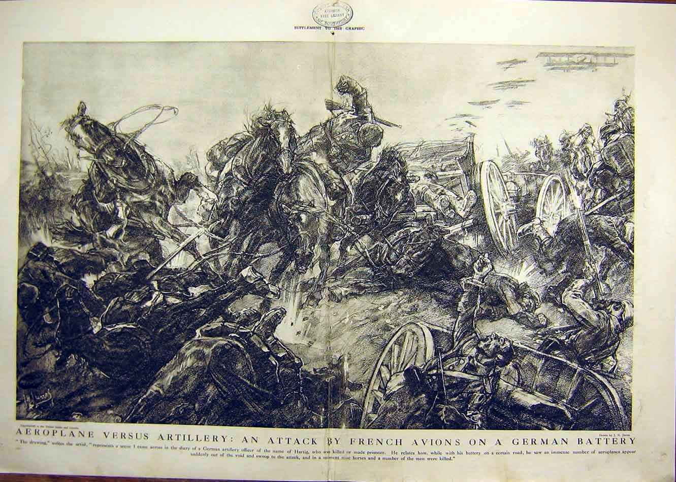 Print Aeroplane Artillery Attack German Battery French Ww1 07Tddd0 Old Original