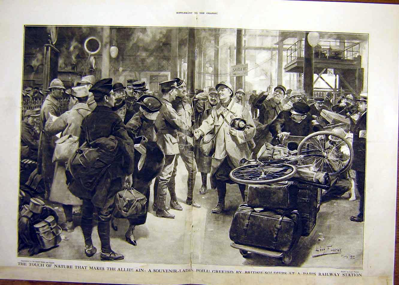 Print Allies Station Poilu British Soldier Paris Ww1 War 1916 08Tddd0 Old Original