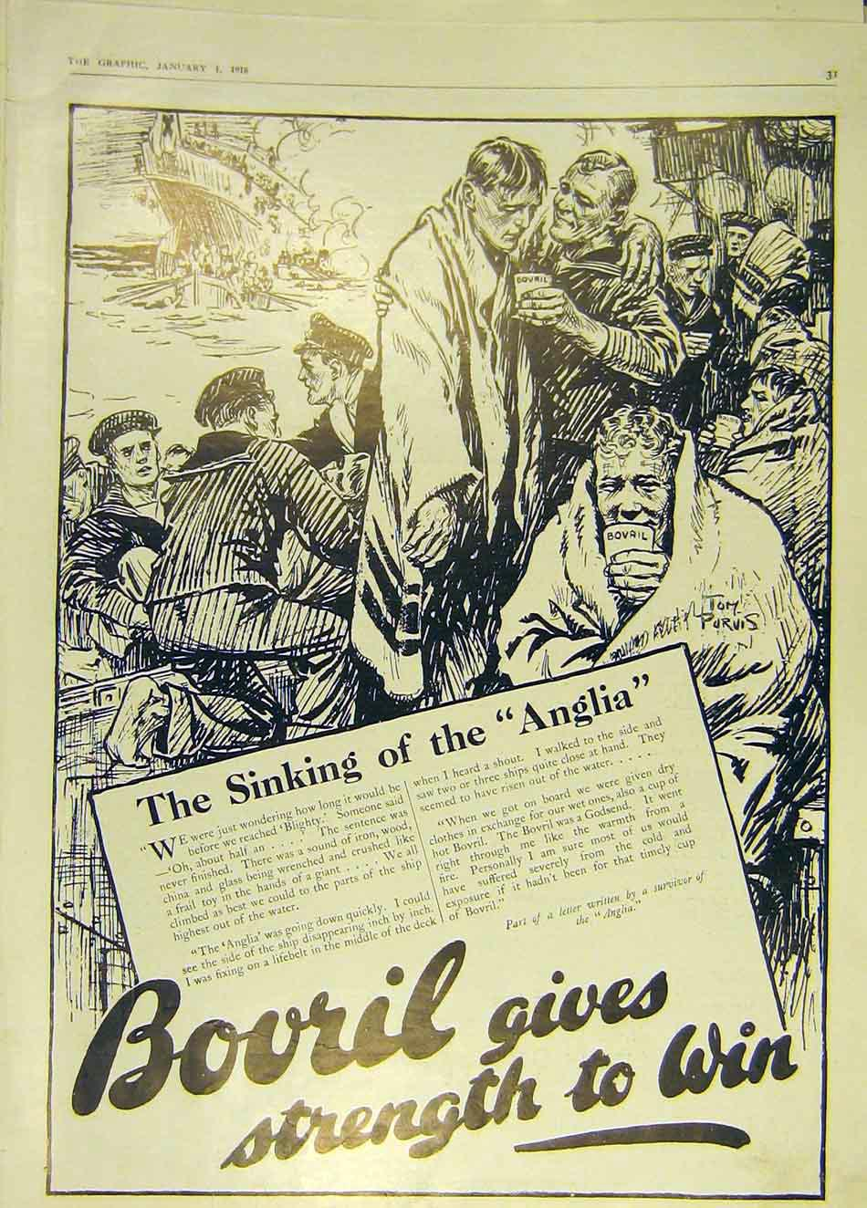 [Print Bovril Advert Anglia Sinking Ship Wreck 1916 31Ddd0 Old Original]