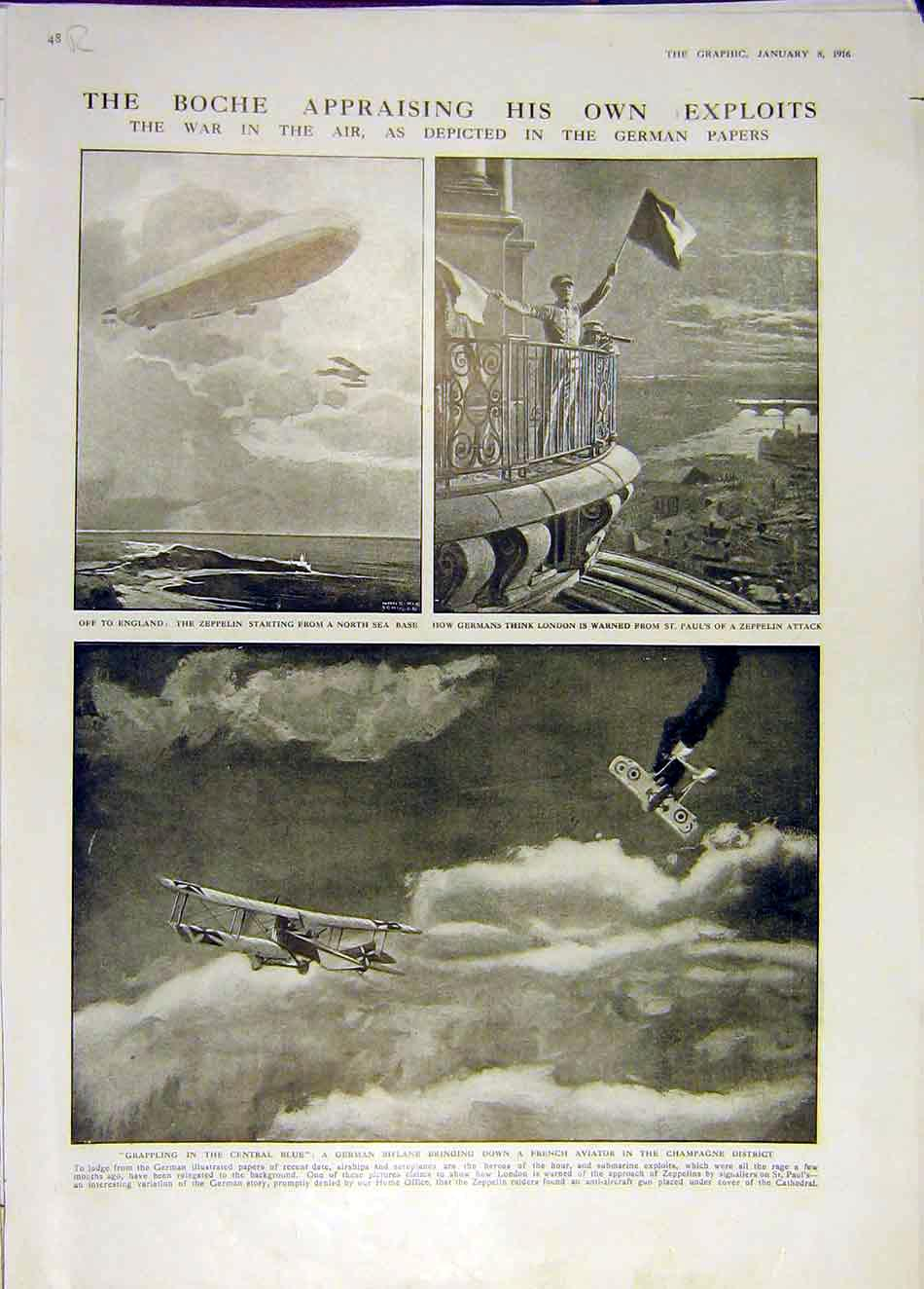 Print Zeppelin London Biplane German Serbia Italy Ww1 1916 48Rddd0 Old Original