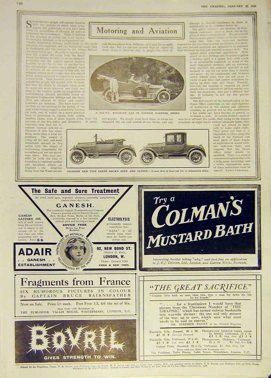 Print Wolseley Motor Poona Salmons Coupe Bovril Colman'S 1916 40Ddd0 Old Original