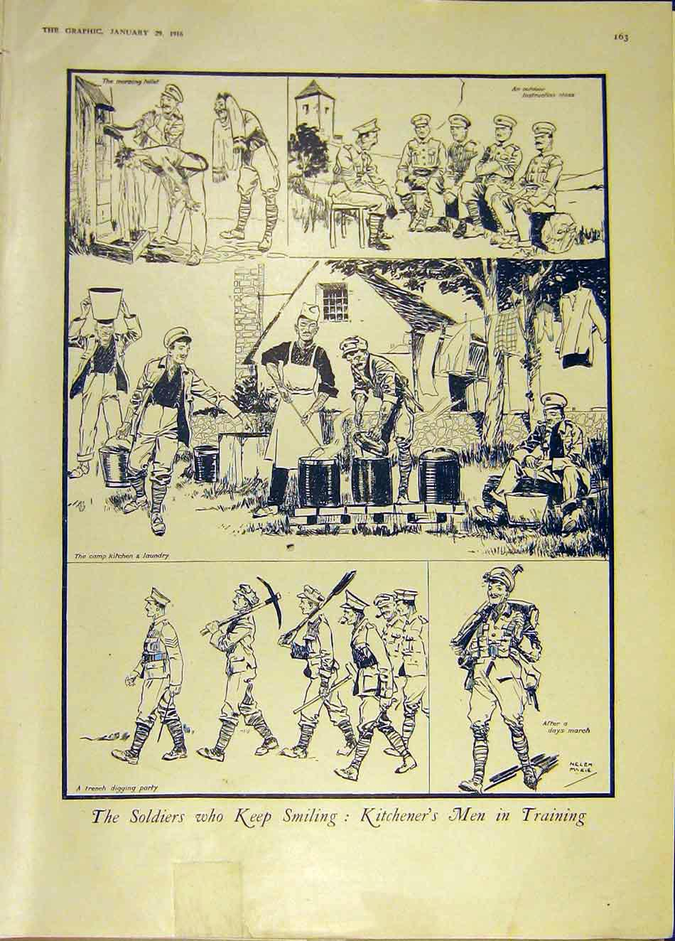 Print Soldiers Sketch Kitchener Cartoon Ww1 1916 63Ddd0 Old Original