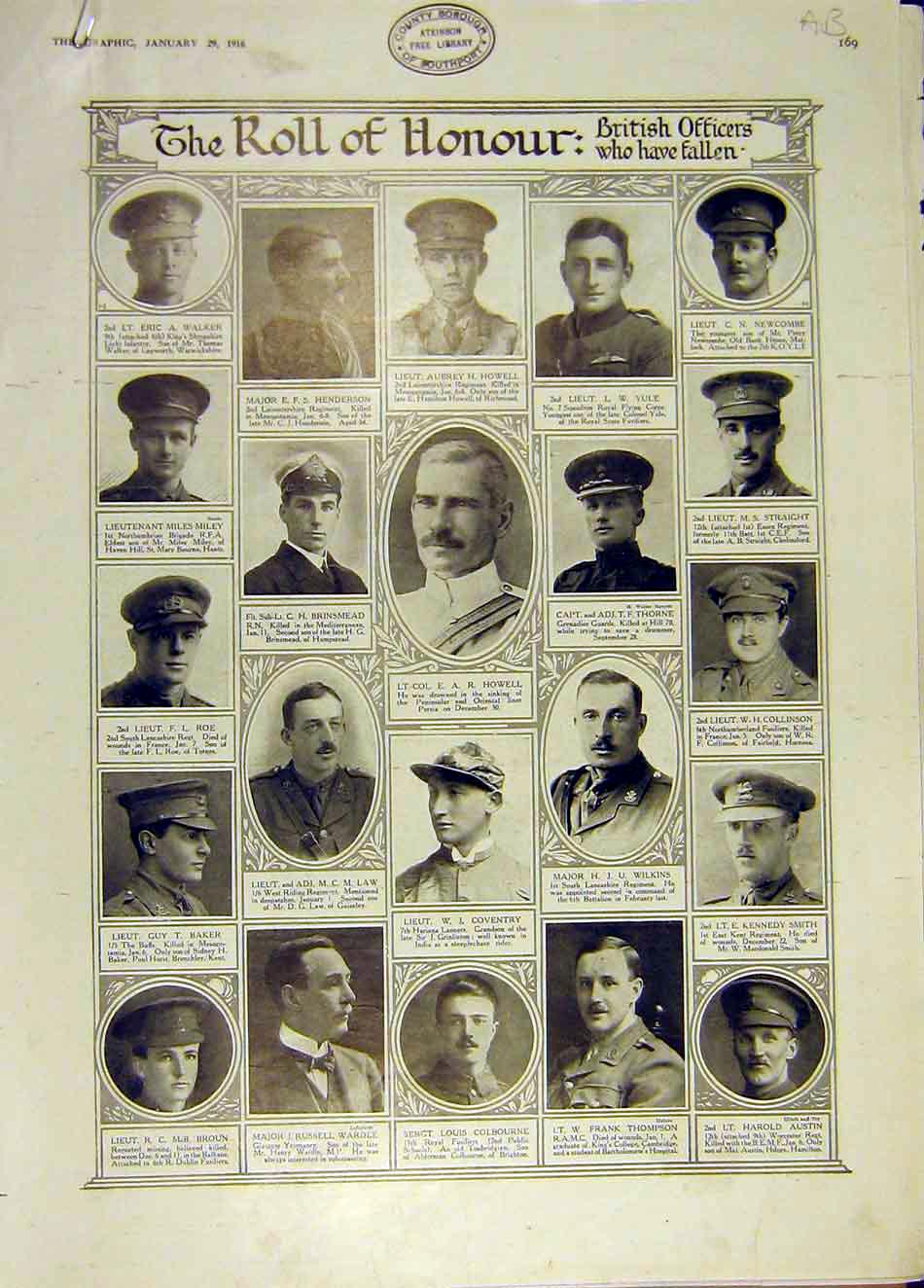 Print Bitish Officers Fallen Ww1 War Roll Honour 1916 69Addd0 Old Original