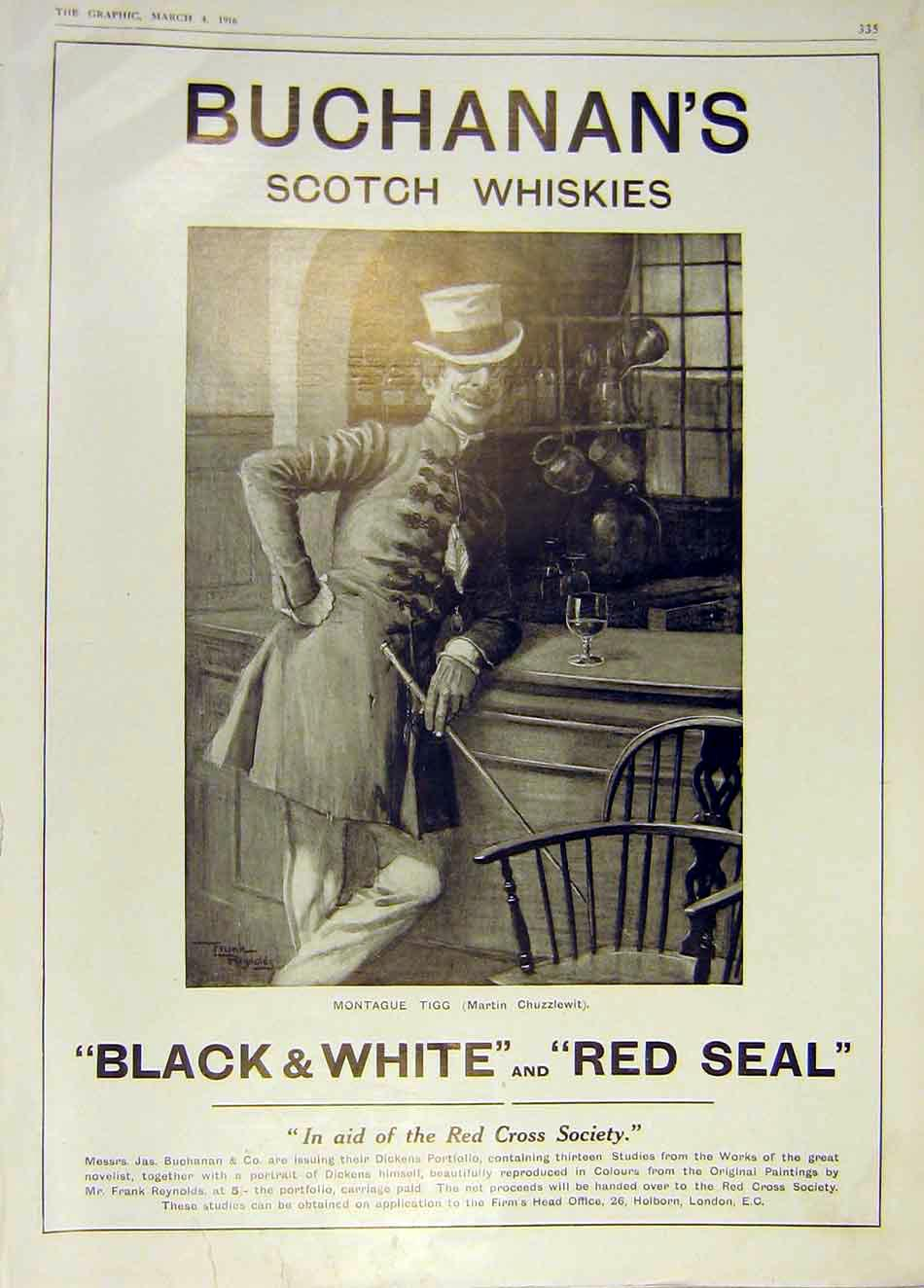 Print Buchanan'S Scotch Whisky Montague Tigg Chuzzlewit 1916 35Ddd0 Old Original