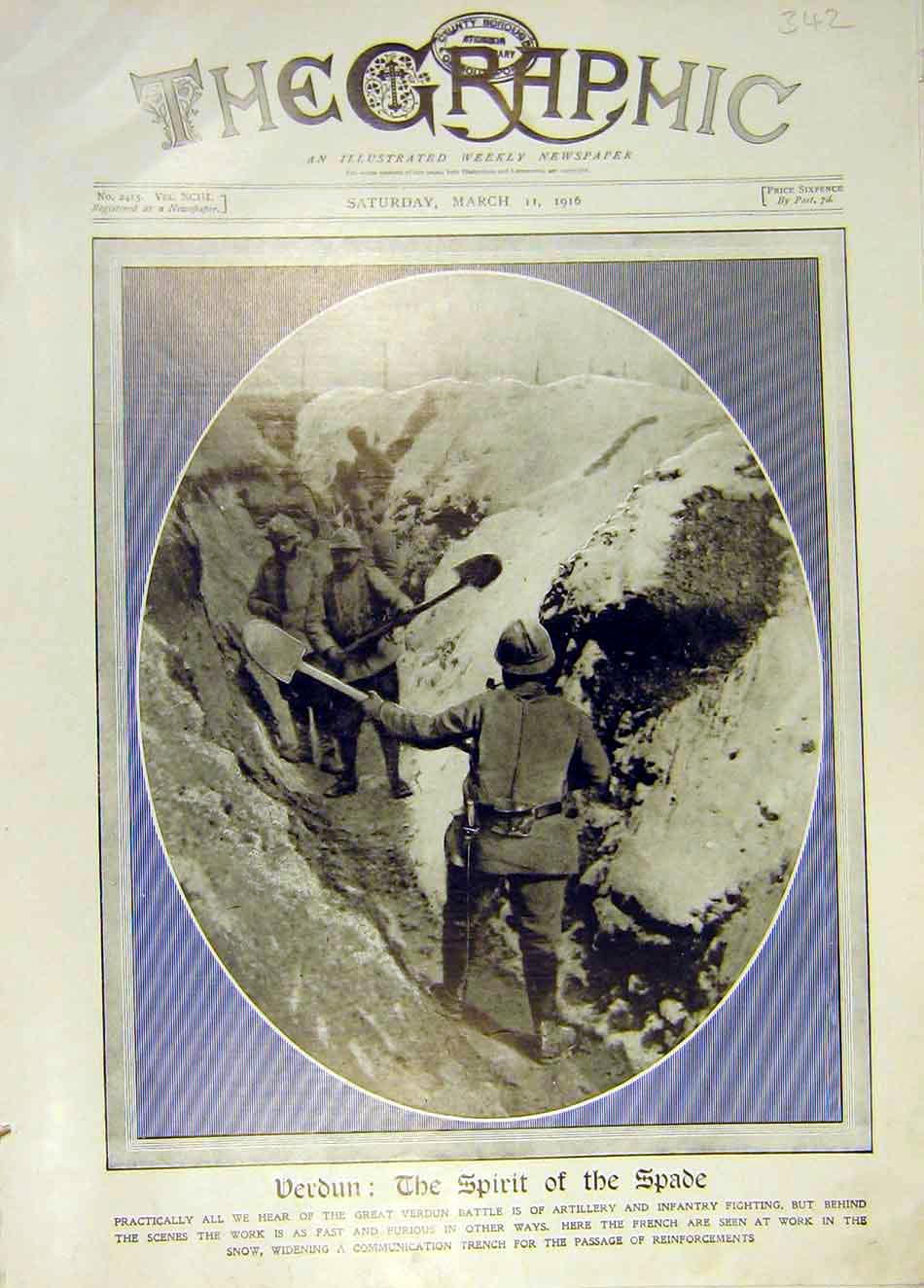 Print Verdun Spade Trench Battle Artillery Infantry Ww1 1916 42Ddd0 Old Original