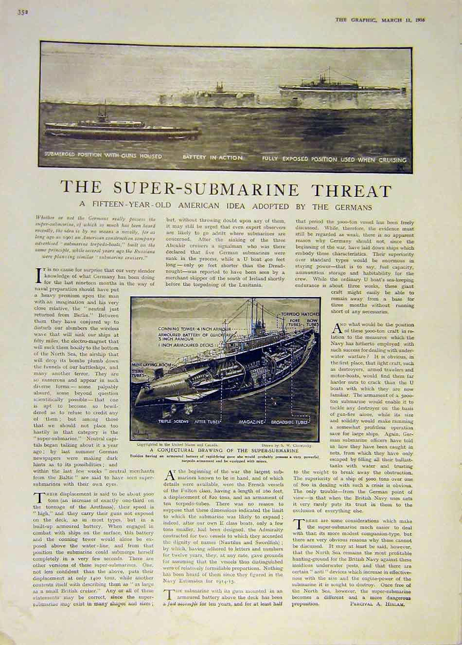 Print Super-Submarineamerican German Ww1 War Navy 1916 52Ddd0 Old Original