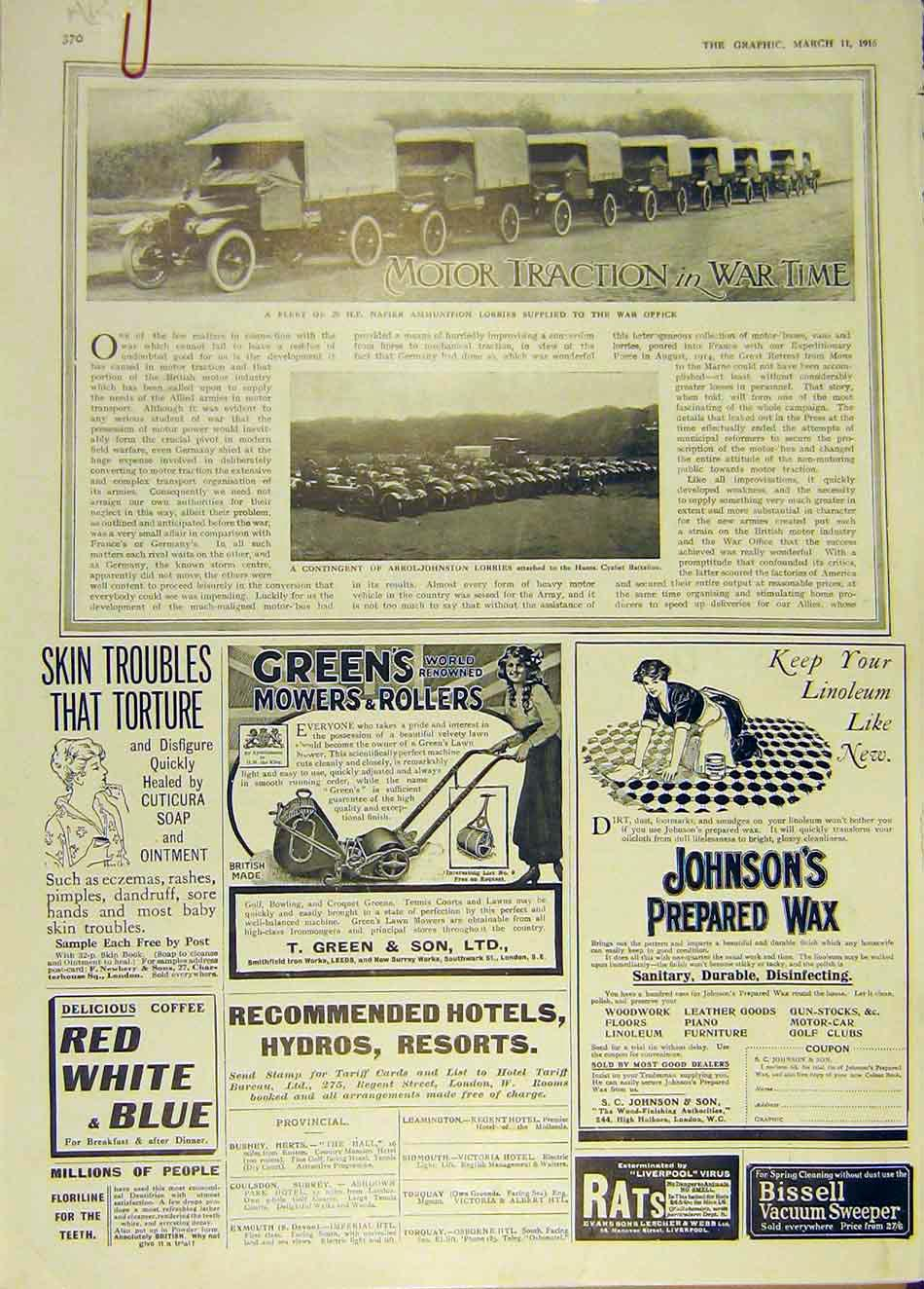 Print Arrol-Johnston Lorry Napier War Ww1 Austin Car 1916 70Addd0 Old Original